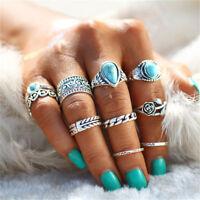 12pcs Silver Boho Turquoise Stack Plain Above Knuckle Ring Midi Finger Rings Set