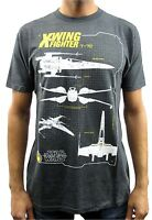 Star Wars T-70 X-Wing Fighter Diagram Charcoal Heather Men's T-Shirt New