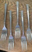 vintage set of 5 stainless Rustfritt forks German Norwegian