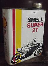 ANCIEN BIDON D'HUILE 2L . SHELL SUPER 2T MOTO .ABE. CAN OIL MOTOR .DÉCO GARAGE