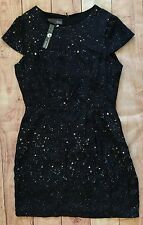 New MYNE Ashley Ann Anthropologie Black Silk Galaxy Stars Dress Women's 8 $168