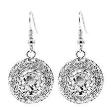 Silver Full of Rhinestones Shiny Evening Party Drop Dangle Earrings Bridal E1009