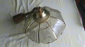 Vintage 1980's pull down ceiling light - glass