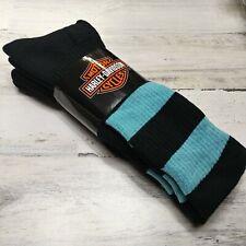 2 Pair Harley Davidson Merino Wool Socks Women's Medium Black Blue Stripe