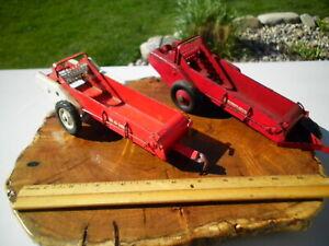 Two 1950s Vintage IH McCormick-Deering Tri Scale Toy Tractor Manure Spreaders