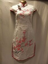 LADIES NWT Tianyan M IVORY SILK/PINKS BLOSSOM/CAP SLEEVE/CLASSIC CHINESE FROCK