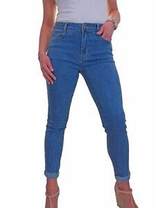 ICE Womens High Rise Slim Fit Roll Up Cuff Soft Stretch Denim Jeans Blue 10-22