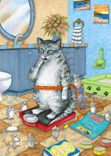 ACEO art print from funny art painting Cat 579 mouse mice bathroom by L.Dumas