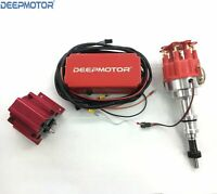 Deepmotor SBF Billet Distributor Ignition Box Coil 289,302,Kit Red