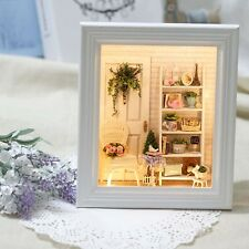 DIY Wooden Photo Frame Dollhouse Sunshine Doll House Lights Flower Creative Gift