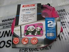 2 Who-Rae Collapsible Car Side Twist Window Shades Pink Panda Universal Fit