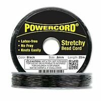 0.8mm Black Powercord 8.5 Pound Test No Fray Elastic Jewelry 25 Meter Spool