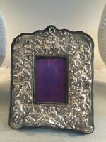 Antique Sterling Silver Picture Frame Repousee Cherubs 9in By 11in