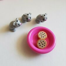 Lego Friends Cute Baby Hamsters x3 Grey with Dish Food Accessory New