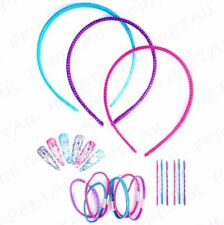 Girls 21pc Colourful Glitter Hair Set Bobbles Clip Alice Band Kit Birthday Gift