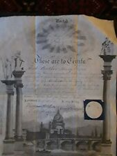 Antique Georgian Masonic Certificate 1814 Lodge 375 / 295 Cock and Bell Romford