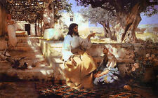 Oil alfred von kowalski wierusz - christ in the house of martha and mary canvas