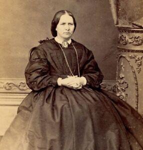 Antique CDV Carte De Visite portrait lady Mr George Ruff Brighton #27 Victorian
