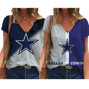 Dallas Cowboys Women Short Sleeve T Shirt Casual Loose V-Neck Blouse Tops Gifts