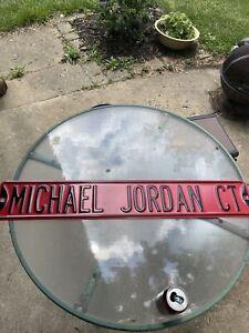 Vintage Michael Air Jordan Court Ct. Metal Street Sign Mancave Bar Full Size Red