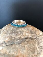 Native American Navajo Sterling Silver Blue Opal Inlay Ring Size 10 Yazzie