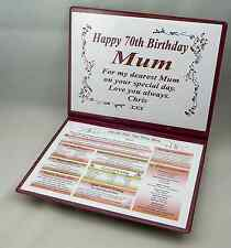 MUM'S THE WORD - 70TH  BIRTHDAY  KEEPSAKE- THE DAY YOU WERE BORN SPECIAL