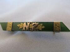 Antique New Zealand Greenstone Brooch Pin with NZ in Gold and Banding