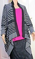 Ladies asymmetrical hemmed wrap style black & grey cardigan size 14 Target brand