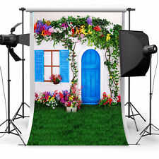 5X7FT Green Plant Color Flower Blue Wooden Doors Window Picture Background Cloth