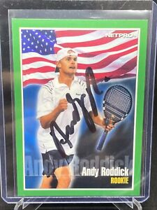 2001 NETPRO ANDY RODDICK AUTO RC SERIAL NUMBERED #144/999 USA TENNIS ICON