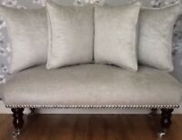 Footstool Stool Plus 4 Cushions Laura Ashley Villandry Dove Grey Velvet Fabric