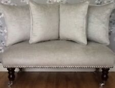 Long Footstool Stool & 4 Cushions Laura Ashley Villandry Dove Grey Velvet Fabric