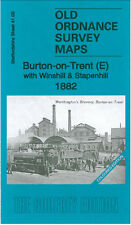 OLD ORDNANCE SURVEY MAP BURTON ON TRENT EAST 1882 COLOURED EDITION