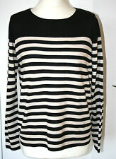 Marks & Spencer Woman UK12 EU40 black/cream stripe long-sleeved jumper