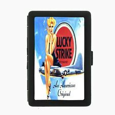 Lucky Strike Black Cigarette Case D22 Metal Wallet Vintage Cigarette Smoking Ad