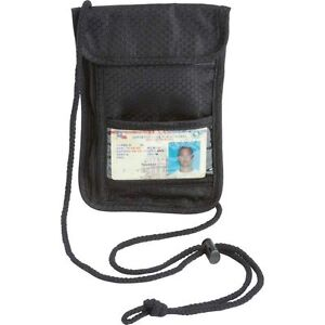 Black Travel Passport Security Neck Wallet, Transparent Window ID Card Pouch Bag