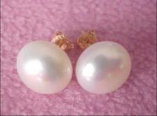 Beautiful A pair of natural 11-12mm south seas white pearl earring 14K yellow go