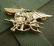 US Navy Seal Seals Metal Trident Budweiser Badge Uniform Insignia Pin Golden New
