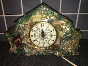Working 1950s vomit clock w abalone shell, semiprecious stone, blue glass