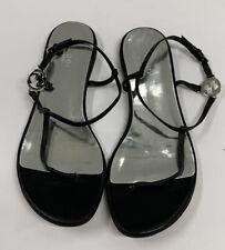 Gucci Flat Sandals - Black w/ Silver Interlocking Gs Logo Sz US 6.5 EU 36.5