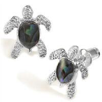 Sea Turtle Fashionable Earrings - Stud - Abalone Paua Shell