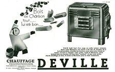 Publicité ancienne chauffage DEVILLE bois ou charbon 1933