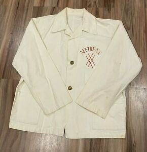 Vintage 20's 30's Chef's Jacket Coat Two Button Work Wear White Cotton/ Linen