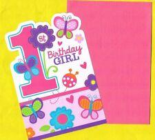 Einladungskarten 1er Geburtstag Kindergeburtstag First Birthday Mädchen 8er Pack