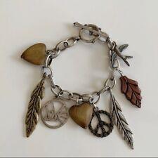 """Boho Peace Love Leaves Toggle Charm Silver Bracelet 8"""""""