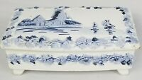 Rare 1900's Antique Blue Delft Footed Box Porcelain 3D Windmill Covered Dish