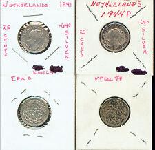 WORLD COINS NETHERLANDS 1941, 1944P 25 CENT HI GRADE(2M699) .640 SILVER