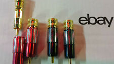 Oberklasse GOLD 4xCINCH STECKER SET EDEL rot+schwarz<8mm 24-KARAT Referenzklasse