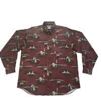 Columbia River Lodge Mens Labrador Dog Hunting Button Up Long Sleeve Shirt Large