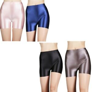 Women Shiny Glossy Booty Shorts Active High Rise Elastic Leggings Athletic Pants